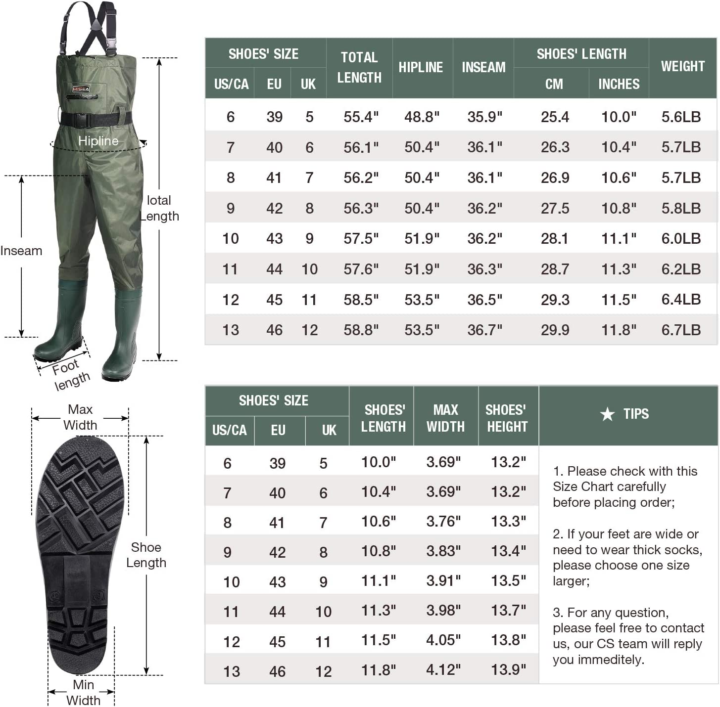 Hisea Upgrade Chest Waders Fishing Waders for Men with Steel Toe Boots Waterproof Lightweight Bootfoot Cleated 2-Ply Nylon//PVC