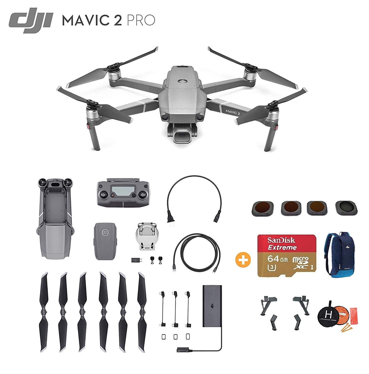 DJI Mavic 2 Pro Drone Quadcopter, Ultimate Bundle, with 64GB SD Card, Filter Set (CPL ND8 ND16 ND32), Landing Gear, Landing Pad and Backpack 2