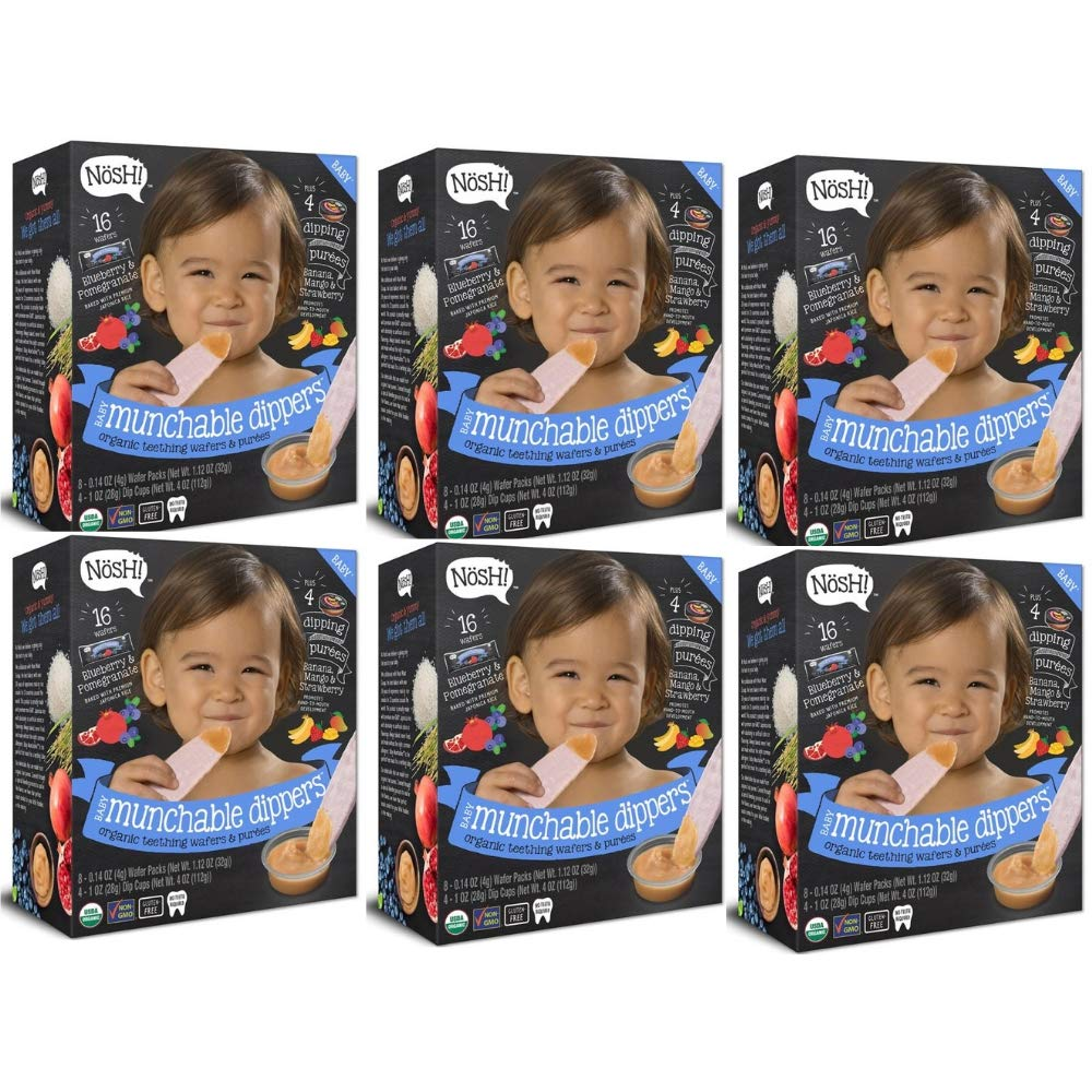 Nosh Baby Munchable Dippers Organic Teething Wafers and Purees Variety Pack (Blueberry and Pomegranate, 6 pack)