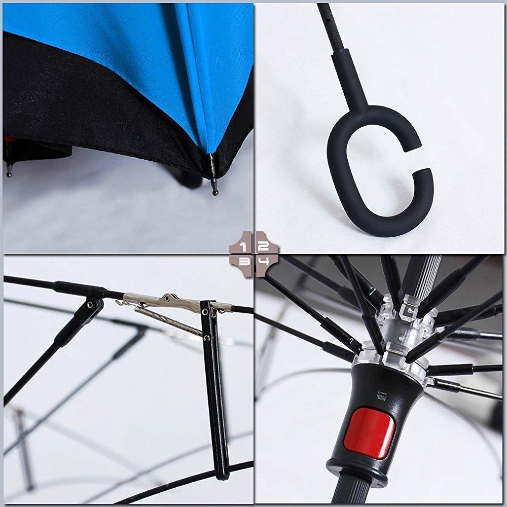 XIANGYUE El paraguas inversa de doble capa que puede estar de pie, el paraguas plegable inversa con un mango en forma de C a prueba del viento y rayos ...