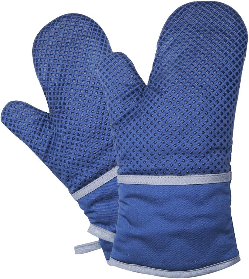 Nachvorn Oversized Oven Mitts, Premium Heat Resistant Kitchen Gloves Coverd with Silicone Dots Non-Slip Mittens Blue