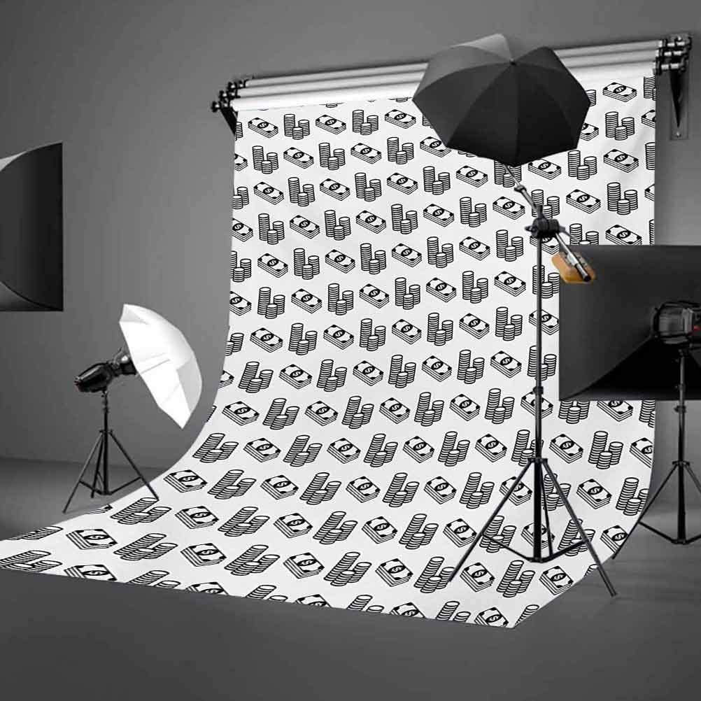 Money 10x12 FT Photography Backdrop Monochrome Stacked Coins and Dollar Bills Simple Doodle Style Economy Themed Pattern Background for Baby Shower Bridal Wedding Studio Photography Pictures
