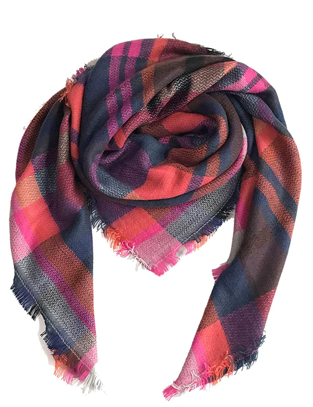 e4c40273bc0 Womens Blanket Scarf Fashion Plaid Scarfs Warm Tartan Chunky Wrap Oversized  Shawl Cape (Pink+Purple) at Amazon Women s Clothing store