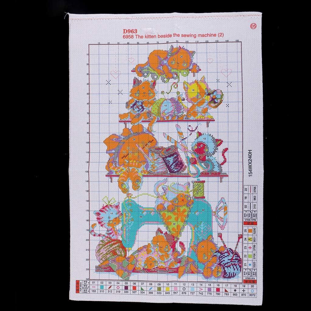 FLAMEER Vorgezeichnete Stickpackung Kreuzstich mit Bamwolle Garn und Anleitung Lustige Katzen fuf N/ähmaschine Muster 35 x 52 cm 14 CT