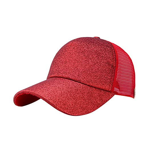 99ffb2b731f CSSD Stylish Women Ponytail Baseball Cap Shiny Snapback Hat Sun Caps  Breathable Adjustable Hats (Red