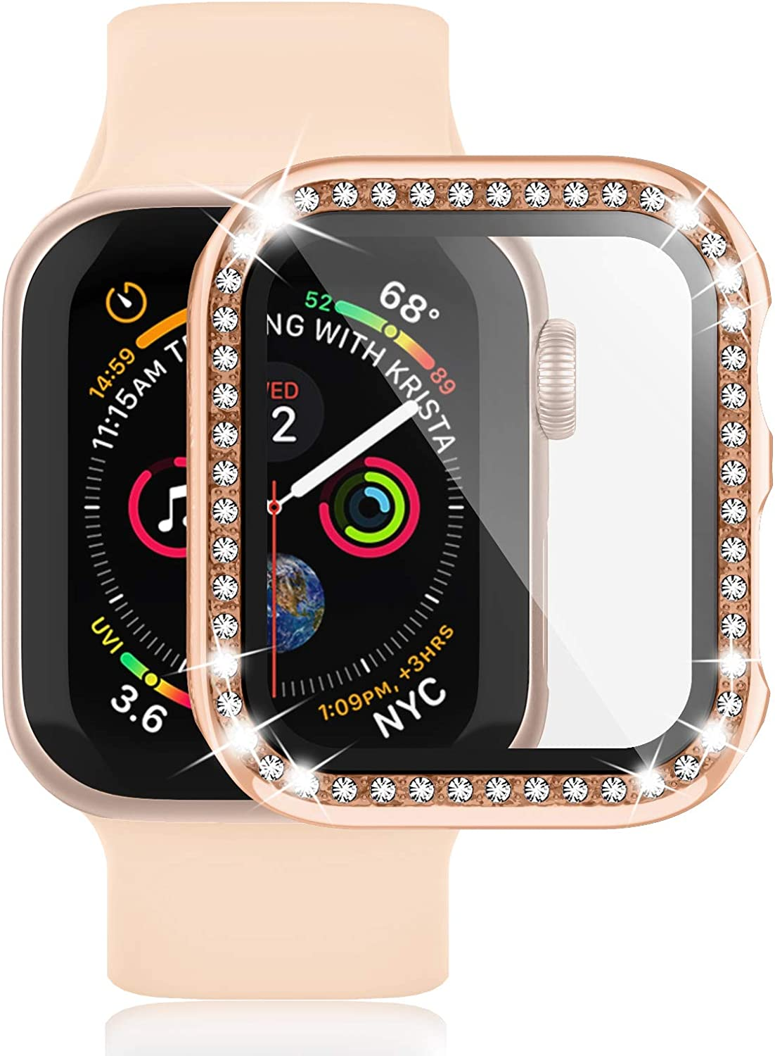 Waspo Apple Watch Case with Tempered Glass Screen Protector Compatible for Series SE/6/5/4 44mm, Anti-Scratch Bumper Hard PC Full Protective iwatch Cover Diamond Rhinestone Bling Frame for Women Girls