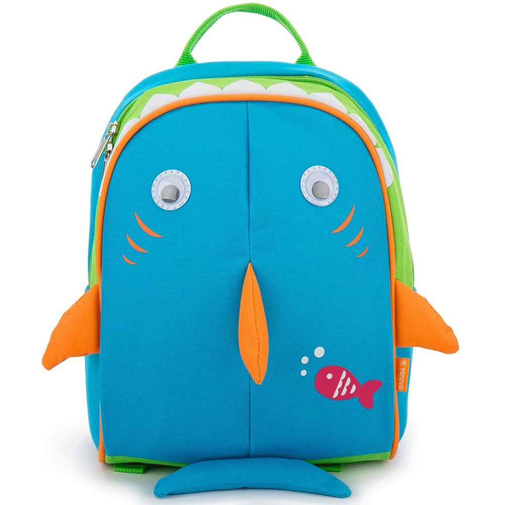 Yodo Kids Insulated Toddler Backpack with Safety Harness Leash and Name Label - Playful Preschool Kids Lunch Bag, Blue Shark