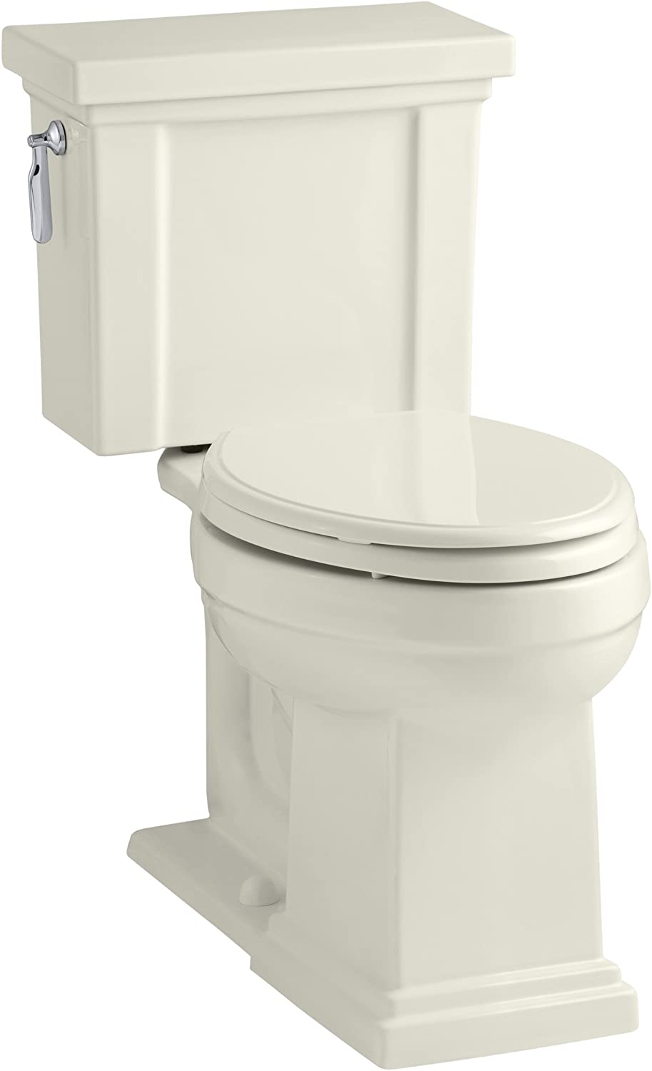 KOHLER K-3950-96 Tresham Comfort Height Two-Piece Elongated 1.28 GPF Toilet with AquaPiston Flush Technology and Left-Hand Trip Lever, Biscuit