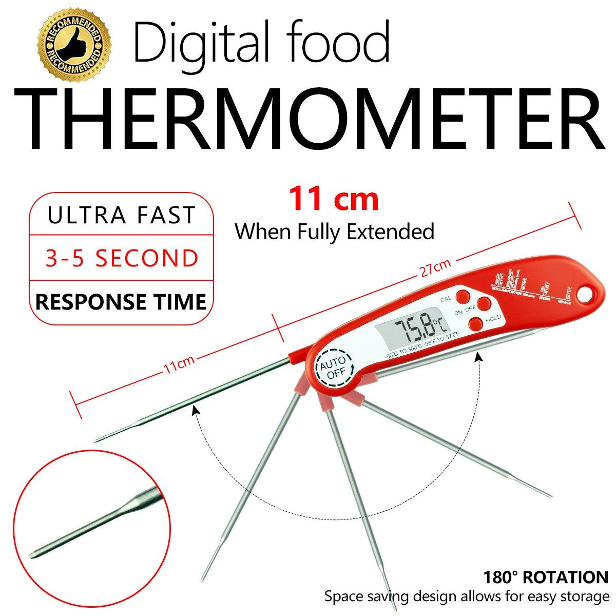 ... termómetro de carne con sonda plegable, sistema de encendido y apagado automático y rápido, para cocina, barbacoa, aves, caramelos, agua y parrilla de ...