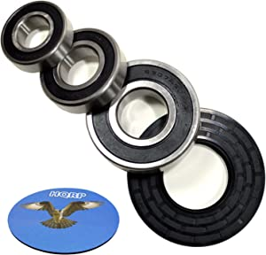 HQRP Bearing and Seal Kit compatible with Whirlpool WFW9600TW00 WFW9600TW01 WFW9600TW02 WFW9600TZ00 WFW9700VA00 WFW9700VW00 Front Load Washer Tub + HQRP Coaster