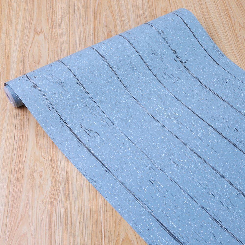 SimpleLife4U Blue Wood Grain Contact Paper Self-Adhesive Shelf Liner Table Door Sticker 17.7 Inch By 9.8 Feet