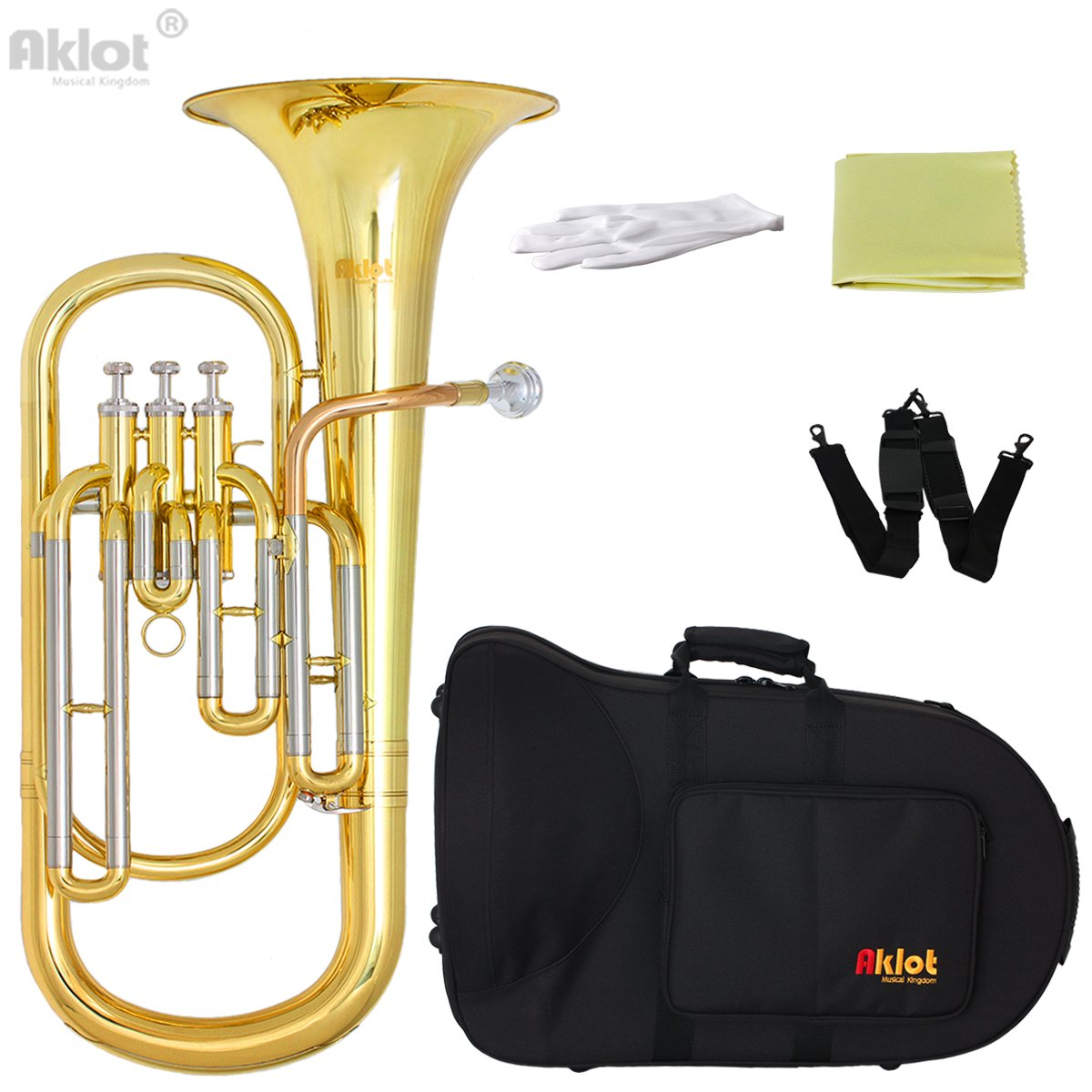 Aklot Professional Bb Baritone Horn Cupronickel Tuning Pipe Gold Brass Leadpipe Silver Plated Mouthpiece Gold Lacquered Brass Body Stainless Steel Valves with Case