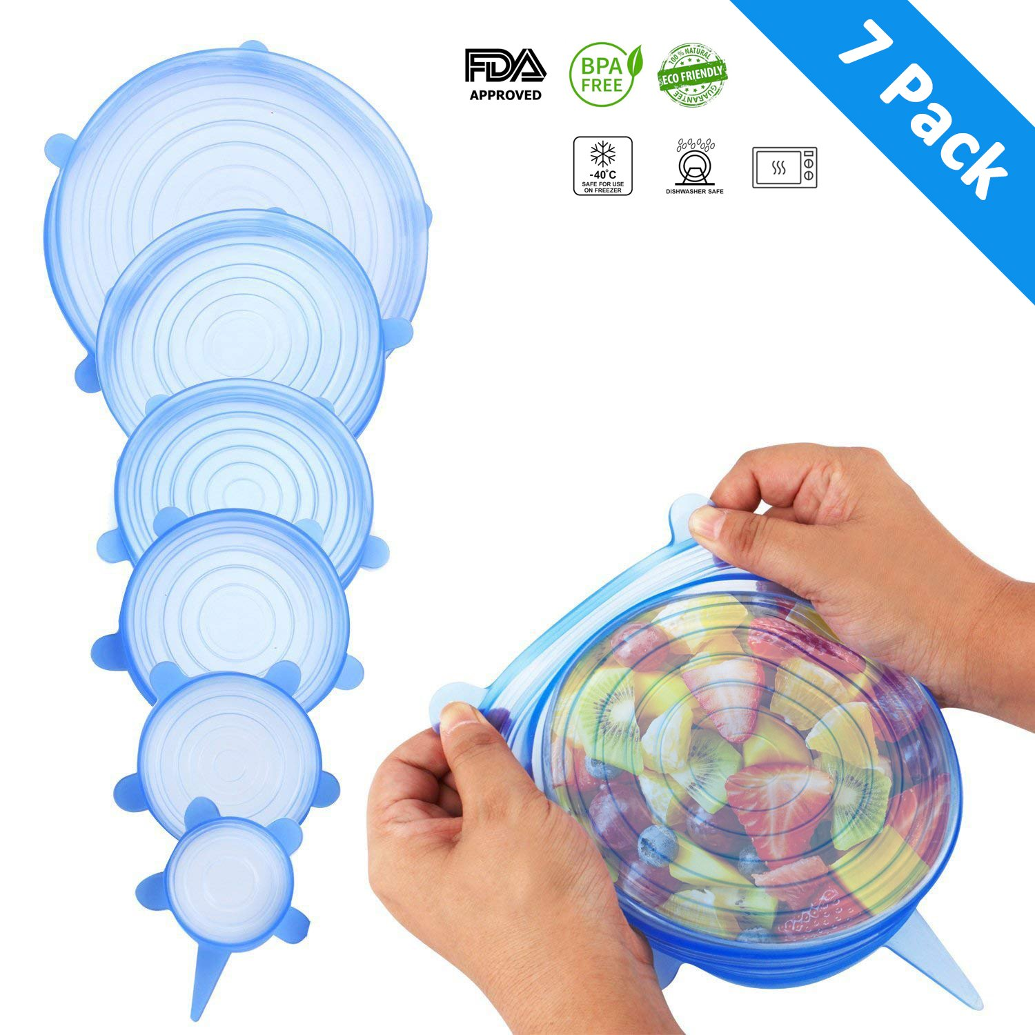 Silicone Stretch Lids - 7 Pack-Extra Large 9.4'' - Silicone Covers for Food & Leftovers - Keep food fresh - THETIS Homes