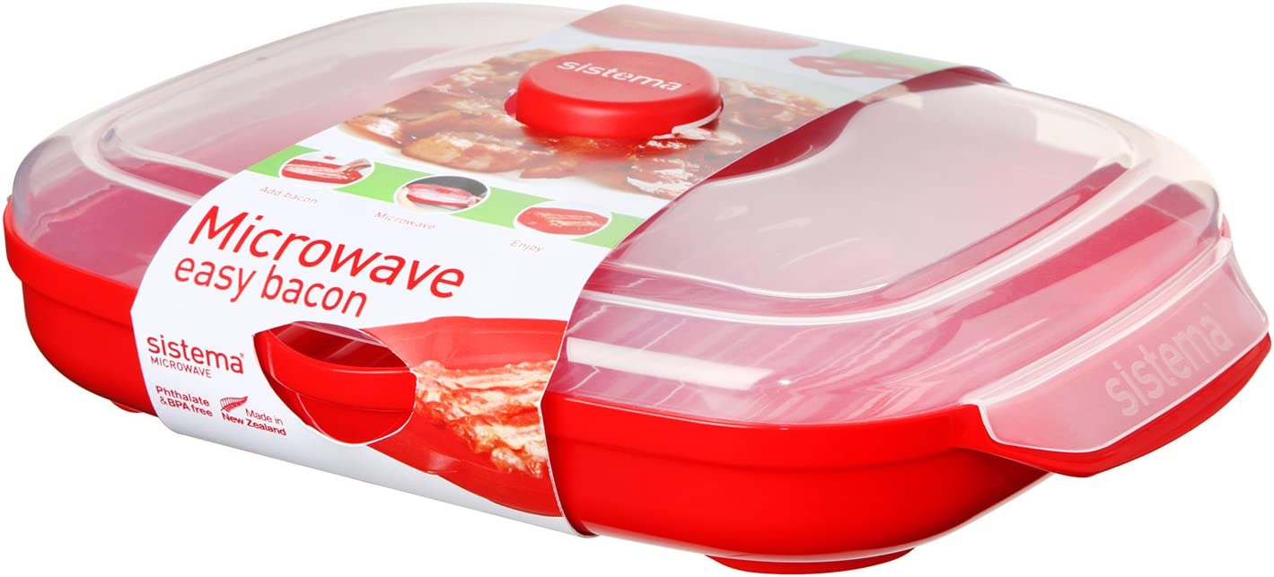 Sistema Microwave Easy Bacon, 28.7 x 21.9 x 7 cm, Red