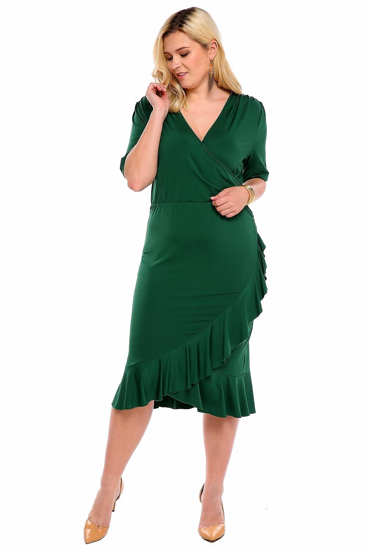 cooshional Damen Kleider Große Größen Wrap Volant Abendkleid V ...