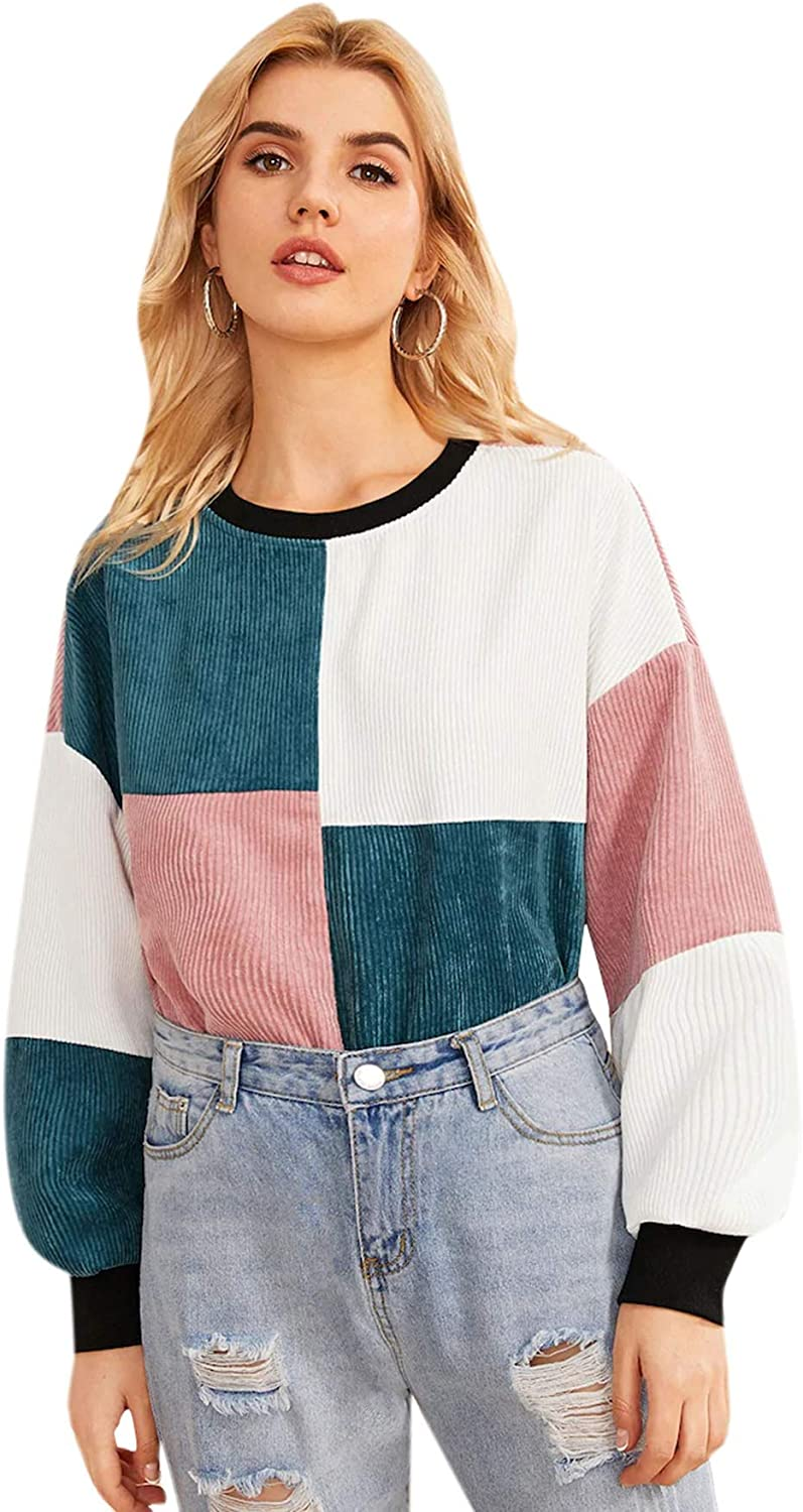 80s Costumes, Outfit Ideas- Girls and Guys WDIRARA Womens Casual Colorblock Long Sleeve Corduroy Pullover Sweatshirt $19.99 AT vintagedancer.com