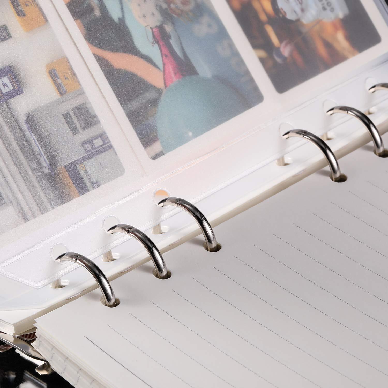 15 Pezzi A6 Formato 6 Fori Raccoglitore ad Anelli Tasche Cerniere Plastica Cartelle Impermeabile 6 Fori Cerniera Borsa Foglia Sciolto per Documenti Taccuino Carte