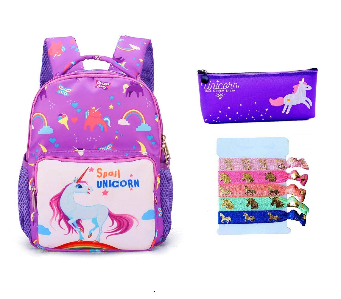 Fanovo Unicorn Backpack for Kids Nylon School Bag, Mini Unicorn Backpack, Cartoon Unicorn Kids Bags Kindergarten Backpack for 1-5 -Year-Old + 1 PC Unicorn Pencil Case + 5 PC Unicorn Hairties.