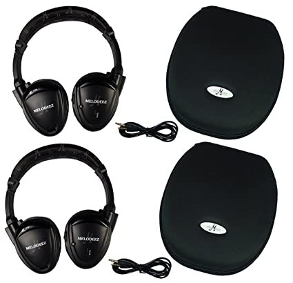 Two Wireless 2 Channel Fold Flat Infrared Rear Entertainment System DVD  Player IR Headphones for in Car Listening with Case and 3 5mm Auxiliary  Cord