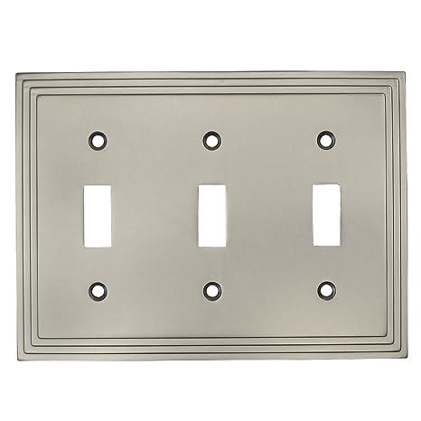 Cosmas 25037 Sn Satin Nickel Triple Toggle Switchplate Wall Switch