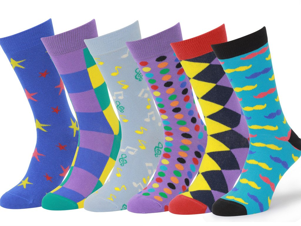 Easton Marlowe Mens - 6 PACK - Colorful Patterned Dress socks - 6pk #3, mixed - bright colors, 39-42 EU shoe size by Easton Marlowe