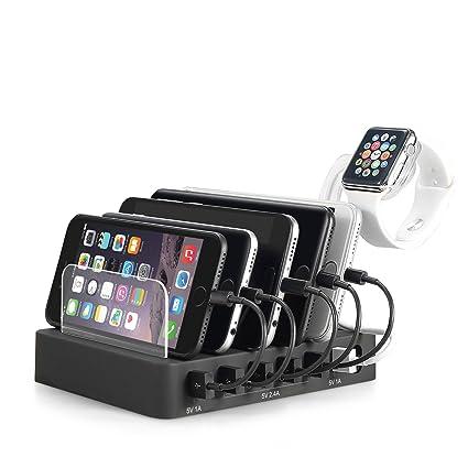 Homesave Cargador de 6 Puertos Multi USB Tableta Digital de Carga con Soporte de Reloj,