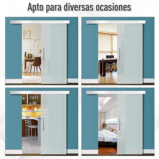 HOMCOM Puerta Corredera 102,5x205cm Puertas Correderas Satinada ...