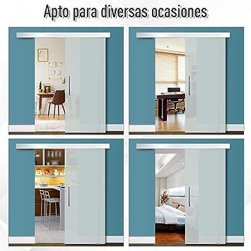 HOMCOM Puerta Corredera 205x90cm Puertas Correderas Satinada ...