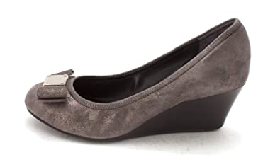 Cole Haan Womens 14A4337 Closed Toe Wedge Pumps Dark Silver/Magnet Size 6.0