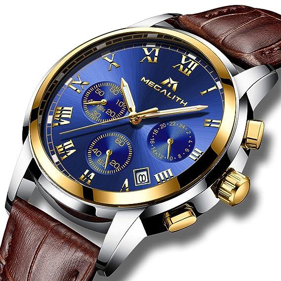 Relojes Hombre Reloje de Pulsera Deportivo Cronografo Impermeable Luminosos Analogicos Reloj para Hombre de Cuero Clasicos
