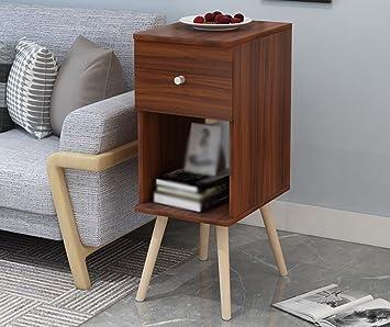 LI JING SHOP   Massivholz Möbel Nachttische Modernes Einfachheit  Schlafzimmer Lagerung Winkelschrank ( Farbe : Nussbaum