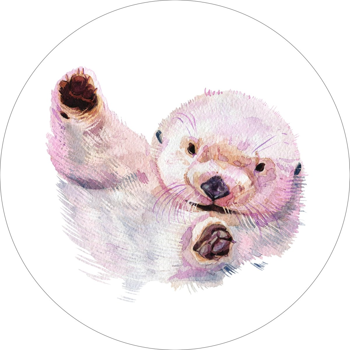 Sea Otter Home Wall Shelf Decor Animal Decorations Watercolor Round Sign - 18 Inch, Plastic