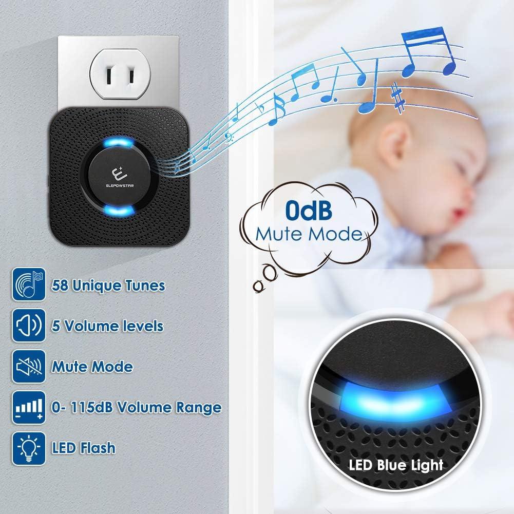 ELEPOWSTAR 52 timbres y 4 niveles de volumen Timbre de puerta inal/ámbrico rango de 1000 pies flash LED inal/ámbrico resistente al agua IP55 con enchufe de pared
