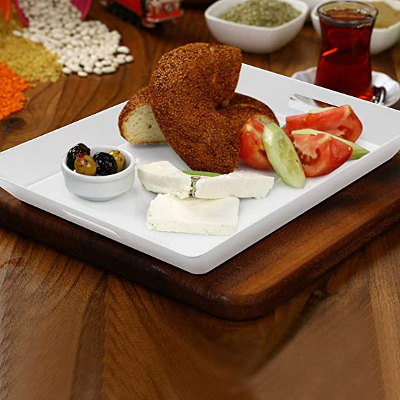 15.5x12.2x1.6 Kitchen Size i BKGOO Foodservice White Plastic Tray Set of 2 Large Melamine Rectangular Serving Platters for Parties Coffee Table