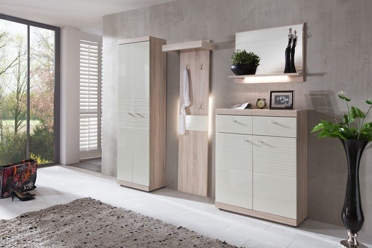 dreams4home garderoben set melton 4 tlg garderobenprogramm flur creme wei hochglanz sonoma. Black Bedroom Furniture Sets. Home Design Ideas