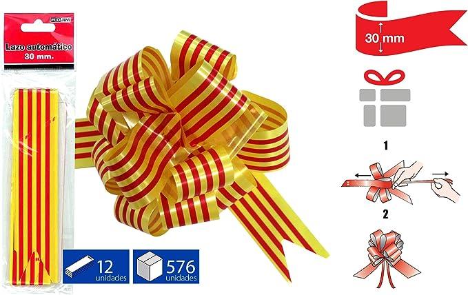 FLOJIM 6 Lazos Automáticos Bandera Catalana para Regalo, Navidad, Decoración, Bodas, Flores - 30 Mm Ancho: Amazon.es: Hogar