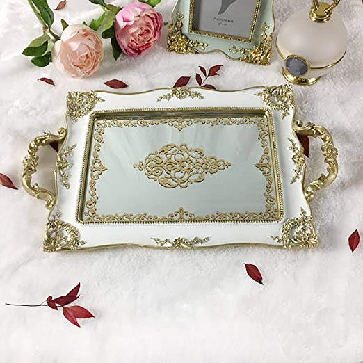 What's Fun Luxury Rectangle Mirrored Decorative Tray Plate For Home Décor/Wedding/Jewelry/Occasion by What's Fun