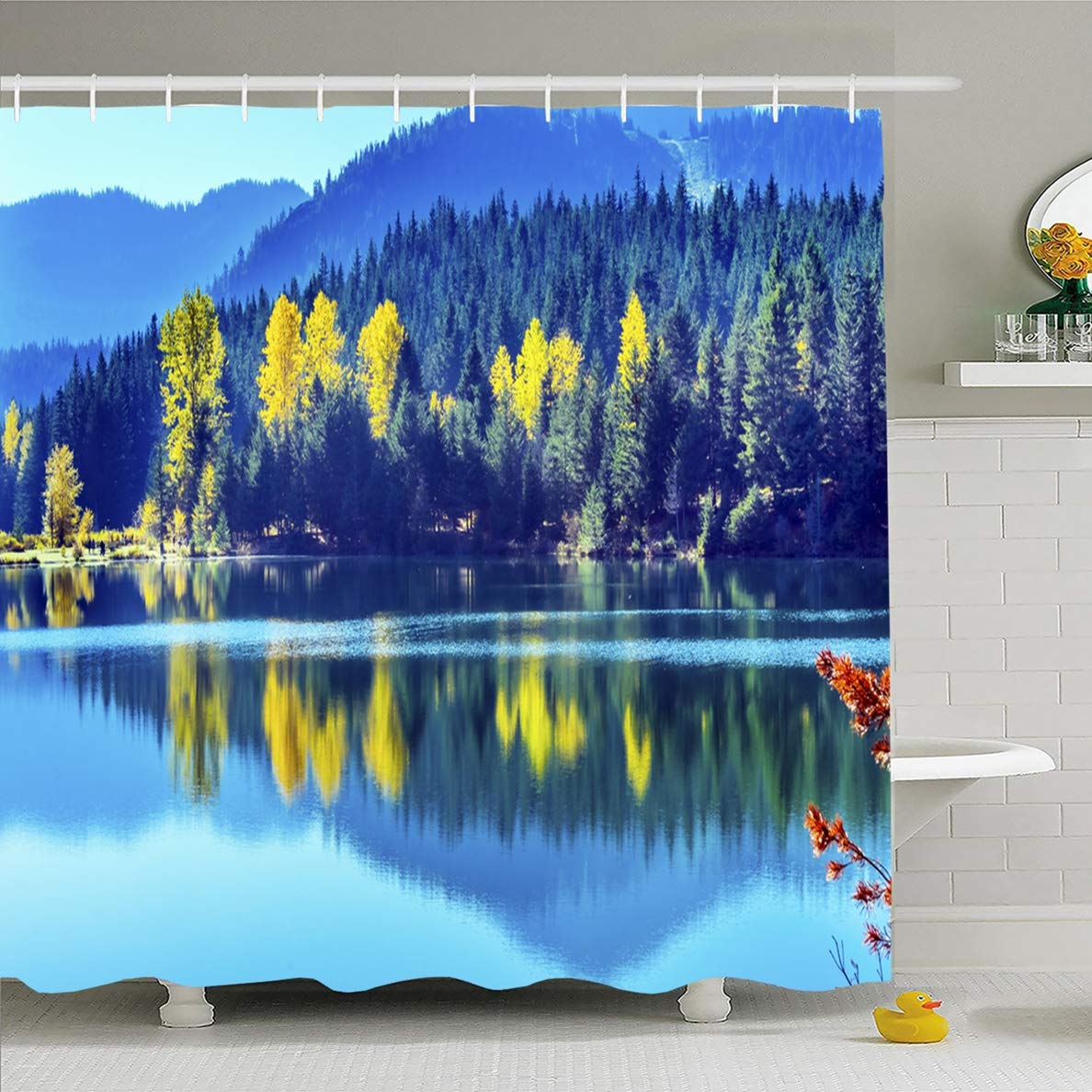 Ahawoso Shower Curtain 60 x 72 Inches Blue Water Yellow Trees Reflection Island Nature Autumn Parks Green Calm Clear Ecology Design Orange Waterproof Polyester Fabric Bathroom Set with Hooks