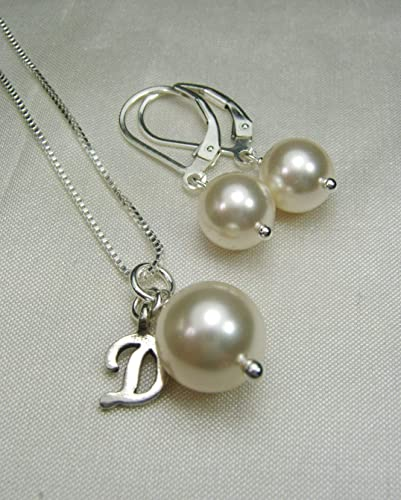 Bridesmaid Jewelry Set Bridesmaid Jewelry Wedding Jewelry for Bridesmaids Pearl Bridesmaid Necklace and Earrings Set Pearl Crystal