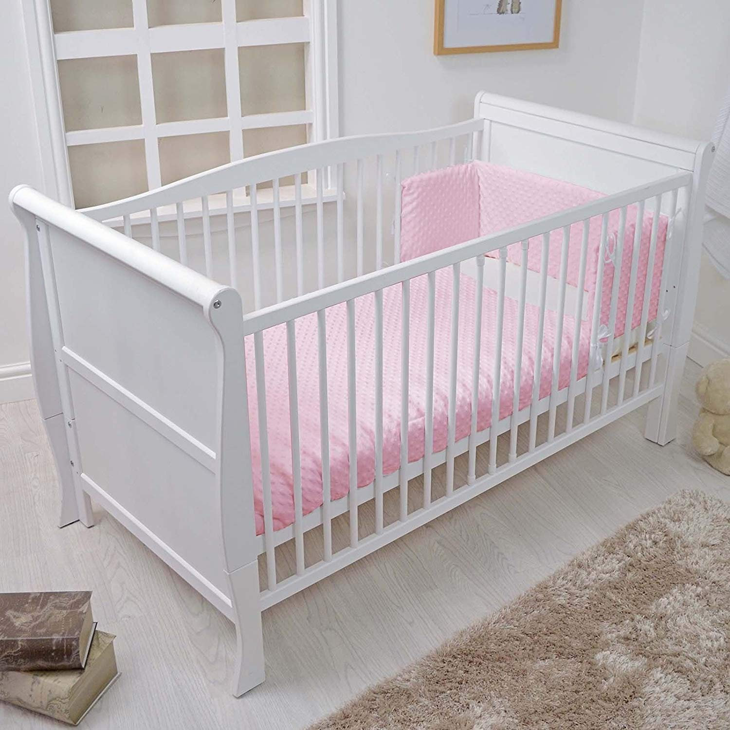 White Solid Sleigh Style Cot Bed /& Deluxe Foam or Sprung Mattress Converts into a Junior Bed Cot Bed with Sprung Mattress no Drawer