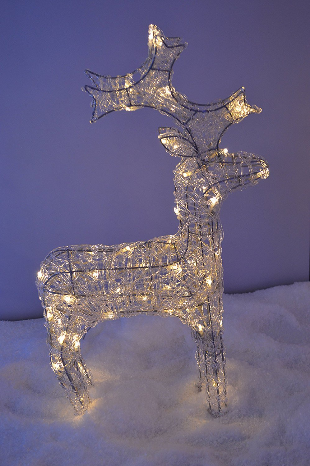 60cm Tall Acrylic Outdoor Christmas Reindeer Lit with 50 Warm White LEDs Kaemingk