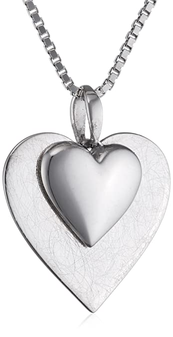 Elements Sterling Silver P2996 Ladies' Layered Scratch Finish and Polished Heart Pendant on Chain MX2VE