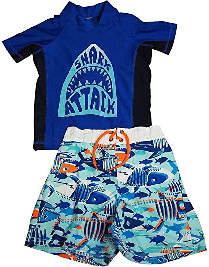 Osh Kosh Toddler Boys Two Piece Rashguard Swim Short Set Size 2T 3T 4T
