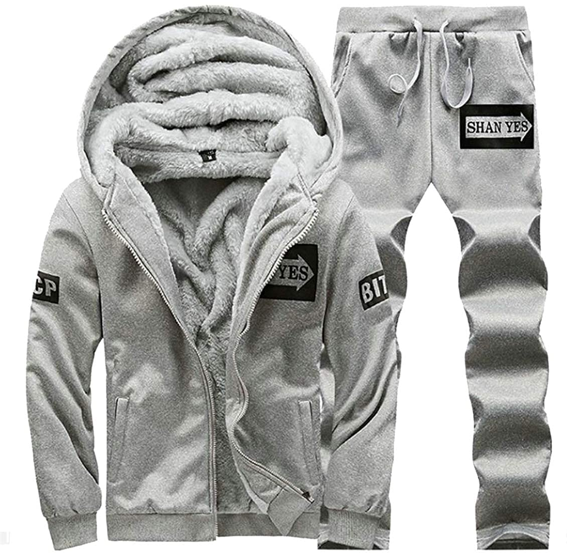 Conffetti Mens Active Fleece Fall Winter Jacket Classic 2 Piece Tracksuits