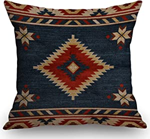 SSOIU Vintage Southwest Native American Throw Pillow Case,Cotton Linen Cushion Cover Square Standard Home Decorative Blue Red