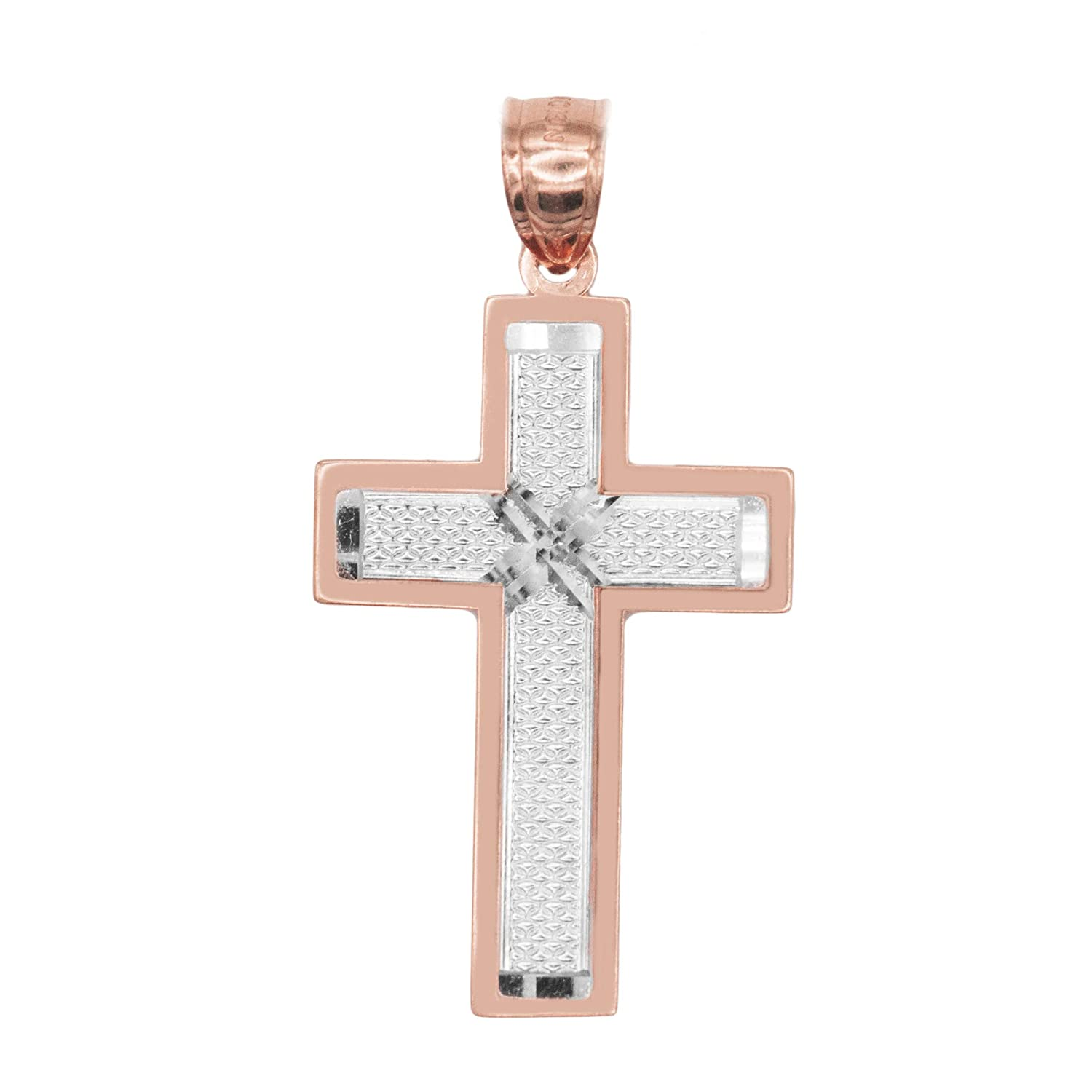 Ice on Fire Jewelry 10k Gold Two-Tone Two Layered Cross Pendant