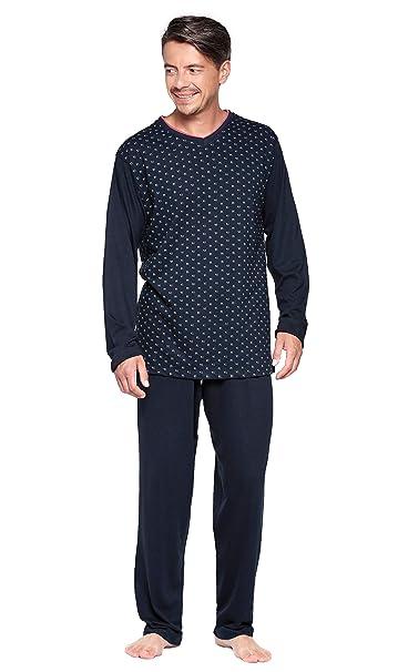 Moonline nightwear - Pijama - Cuadros - Manga Larga - para Hombre Anthrazit-Gepunktet Medium