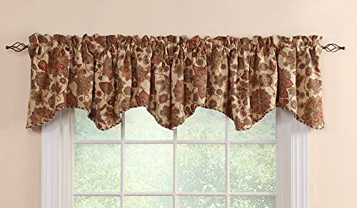 Stylemaster Twill and Birch Cassidy Lined Scalloped Valance with Cording, 52-Inch by 17-Inch, Autumn