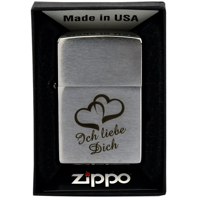 Zippo con grabado Ich liebe dich y 2 corazones en Chrome ...