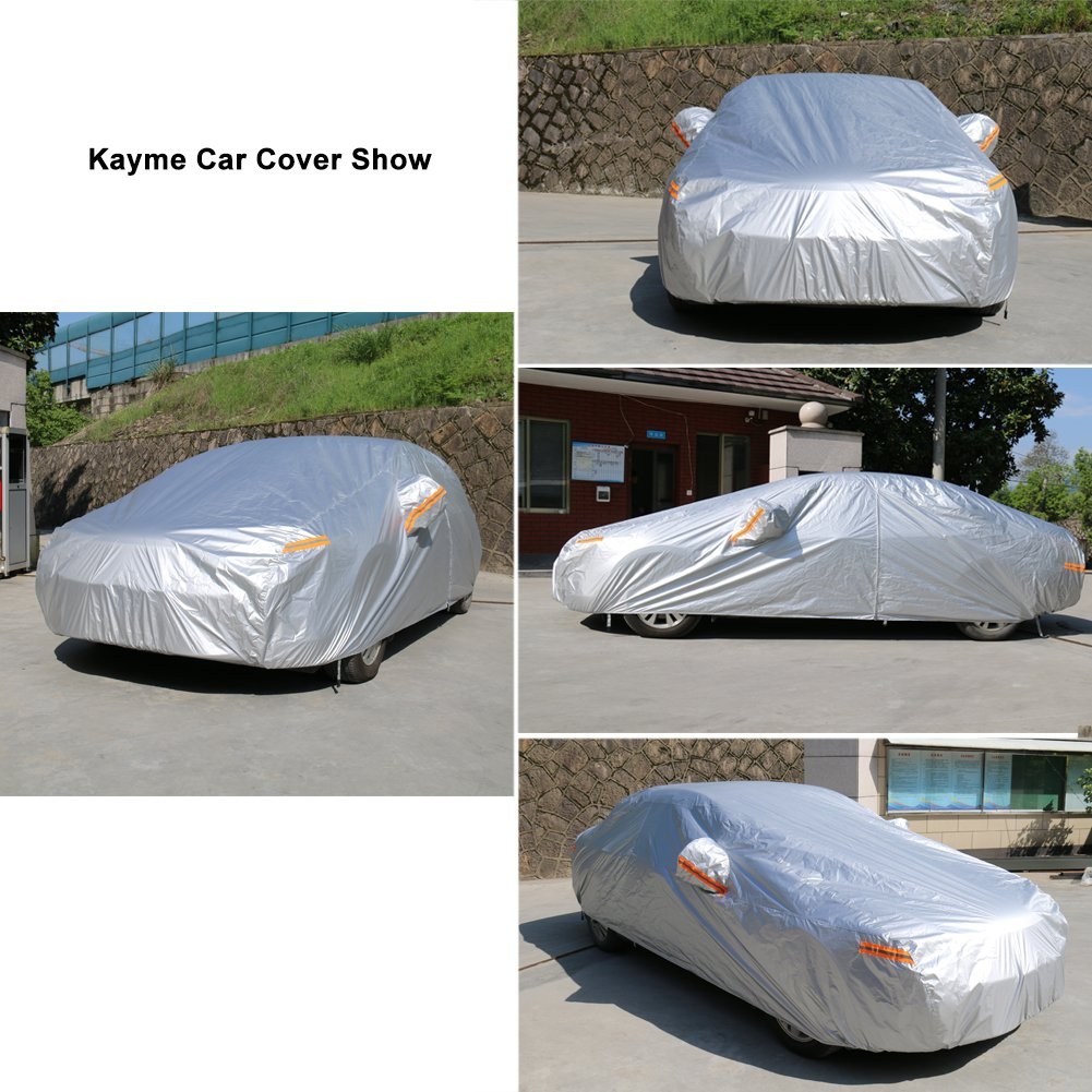 Kayme Car Covers for Automobiles Waterproof All Weather Sun Uv Rain Protection with Zipper Mirror Pocket Fit Sedan 162 to 173 Inch 3M